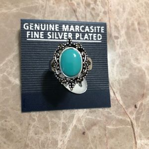 Silver plated turquoise ring size 9